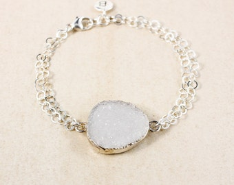 50% OFF SALE - White Druzy Charm Bracelet – Initial Charm – Choose Your Druzy