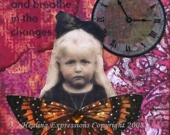 NEW PERSPECTIVES altered art therapy child abuse recovery inspirational collage vintage wings butterfly therapy AcEO AtC PRiNT