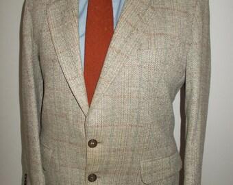 """Vintage mens tweed jacket blazer by Brook Tavener Tailoring made in England pure new wool tweed  40"""" chest Medium"""