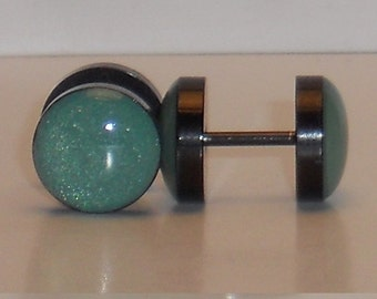 Teal with a Hint of Gold Fake Plugs