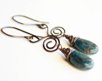Natural Blue Kyanite Earrings, copper wire wrap, blue gemstone, artisan hand-forged copper spiral earrings, holiday gift for her, 3102