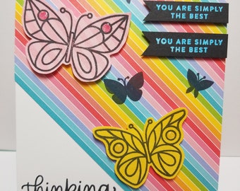 Handmade Thinking Of You Card, Butterfly