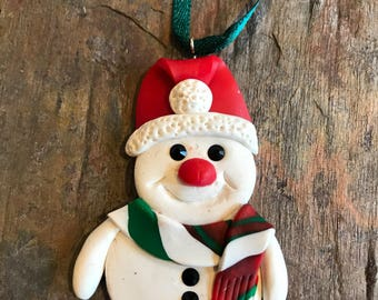 Polymer clay Christmas holiday ornament snowman