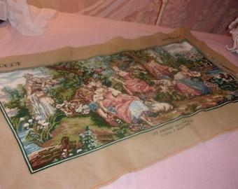 large, beautiful tapestry vintage, romantic scene, butcher