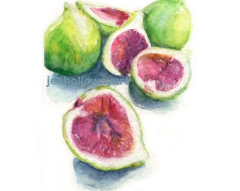 Watercolor Figs, Fig Print, Fresh Fig Print, Fruit Print, Fruit Art