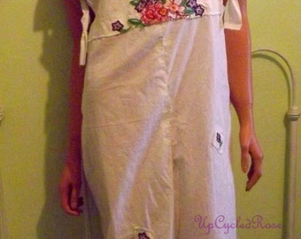 Up-cycled Repurposed Linen Bibbed Bloomers Resort Collection Bohemian Festival Fashion Shabby Couture