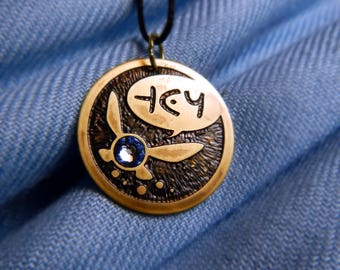 Fairy Persistent Companion - Brass and Crystal Pendant