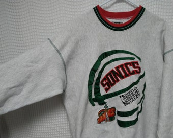 Seattle SONICS vintage sweatshirt 90's NBA basketball Supersonics XXL sewn embroidered space needle logo tri tipped trim hip hop street wear