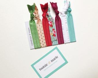 FOE Hair Ties (seven) - the Raindrops & Roses pack