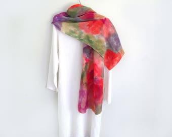Crepe De Chine Wide Scarf / Wrap In Beautiful Summer Colors. Hand-Painted