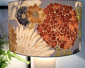 Lamp shades etsy au golden blooms fabric lampshade table lamp shade ceiling pendant lamp home decor handmade in western australia greentooth Image collections