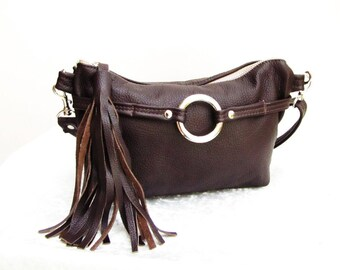 Brown Leather Fanny Pack with Tassel, waist bag, hand-freed pouch can be converted to shoulder purse and cross-body bag