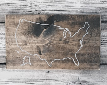 United States Map | Rustic Wood Sign | Home Decor | Wall Art | Handmade | Custom