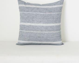 Heathered Blue-Grey Horizontal Stripe Pillow Cover, Farmhouse Pillow