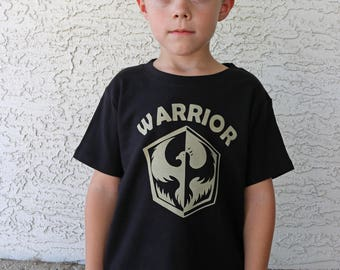 WARRIOR, Kids or toddler shirt, High Quality, Ink Free print, Sizes 12m to 10,  Free Shipping