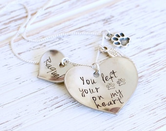 Personalized pet memorial necklace, dog jewelry, dog memorial jewelry: You left your paw prints on my Heart, pet loss, memorial