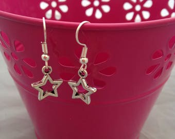 Simple Star Dangle Earrings, Small Fashion Star Drop Earrings, Valentines Day Charms, Mothers Day Earrings, Silver Plated Star Accessories,