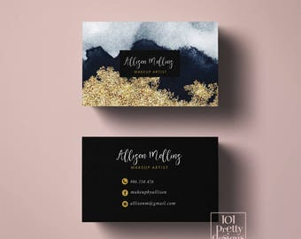 Makeup artist business cards etsy gold glitter business card design printable business card gold navy watercolor business cards modern business card reheart Image collections