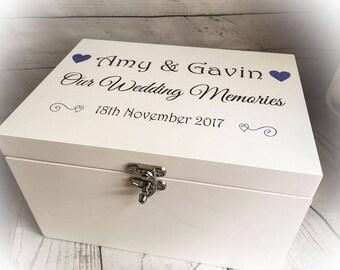 Wooden White Printed Wedding Keepsake Memory Box Chest Personalised GIFT hearts