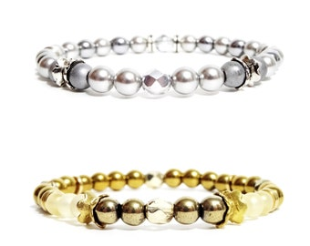 Accessories - Swarovski Pearl Bracelet, Hematite - shiny and matte silver and Czech glass and gold - adjustable elastic strap