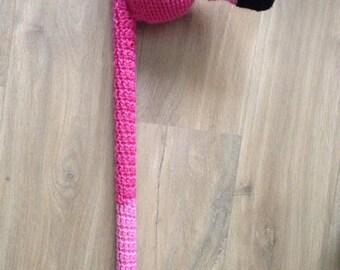 Flamingo Mallet - Alice in Wonderland Queen of Hearts flamingo croquet mallet handmade crocheted crochet pink cosplay prop broom golf club