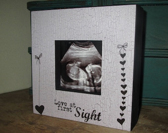 Love at First Sight Picture Board Frame New Baby Ultra Sound Ultrasound Baby Shower Gift Couples Gift Shower gift Wooden Picture Frame