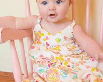 Girls Monte Carlo Maxi PDF Sewing Pattern - Newborn to 12 years, narrow strap, tunic, knee or maxi dress length