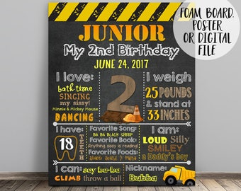 Construction Chalkboard, Construction Birthday Chalkboard , Dump Truck Chalkboard, Dump Truck Birthday Chalkboard, Construction Stats