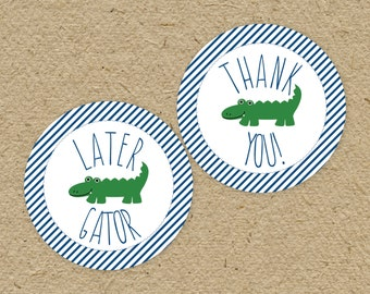 "Printable alligator thank you tags and ""later gator"" tags, gator baby shower thank you tags, alligator birthday party, instant download"