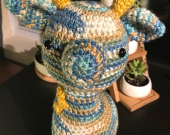 Blue and Yellow Flower Spotted Giraffe Amigurumi