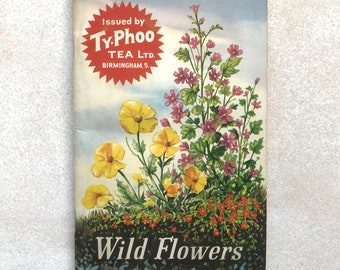 Wild Flowers book, with full set of collectable tea cards. 24 cards. Circa 1960s. Condition Fair to Good.