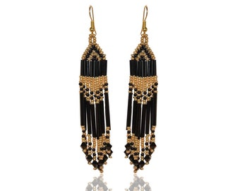 Earrings Ethnic beaded Black and Gold Woven
