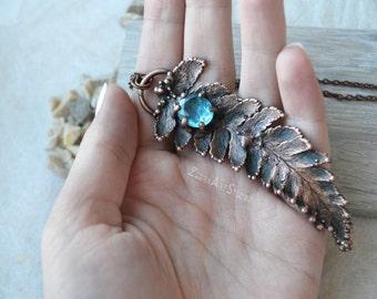 Fern necklace, Fern pendant, Blue topaz necklace, Electroform, Large copper necklace, Faceted topaz jewelry, Plant jewelry, Gemstone pendant