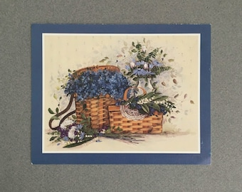 Vintage greetingcards,Elusive blues from Pat Ritcher.set of two blanc cards and envelopes. Beautiful basket with flowers drawing