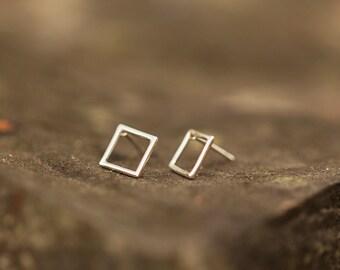 Geometric Earrings  Sterling Silver Stud Earrings  Minimalist Jewelry  Geometric Jewelry  Everyday Earrings  Gift for Her  Made in America
