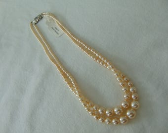 vintage czech glass pearl necklace double strand nwt wedding bridal dressy crystal clasp silver