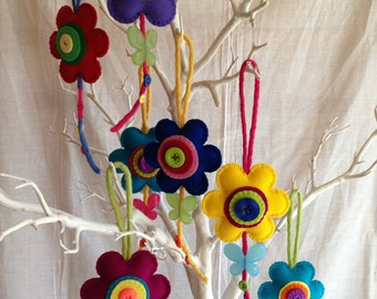 Felt Flower - Hanging Decoration - Wool Felt - Nursery - Decoration