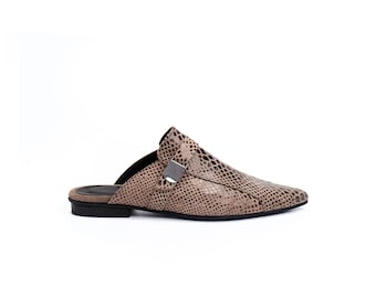Women Flat Brown Mules / Mocha Leather Loafers / Slip On Shoes / Python Pattern Sandals / Elegant Shoes / Snake Skin Casual Clogs - Lorie