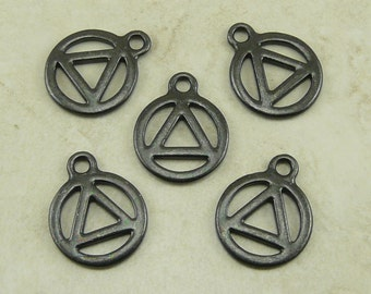 5 TierraCast AA Recovery Serenity Symbol Charms > Black Ox plated Lead Free Pewter - I ship Internationally 2360