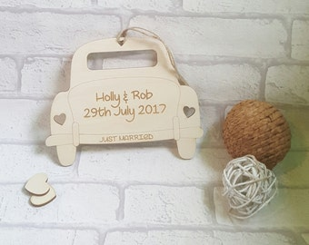 Just Married Plaque, Wedding Car Hanger, Unique Just Married Sign