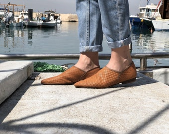 Brown Leather Flat Shoes / Women Shoes / Every Day Shoes / Leather Flats Shoes / Comfortable Summer Shoes / Loafers /  Pointed Toe Flats