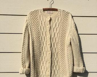 Vintage Hand Knit Klara Cream Chunky Vintage Sweater Grunge Sweater Cozy Sweater Boho Sweater Cable Knit Sweater Cardigan Oversized Medium