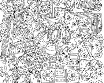 Groovy 70s - Printable Adult Coloring Page from Favoreads (Coloring book pages for adults and kids, Coloring sheets, Coloring designs)