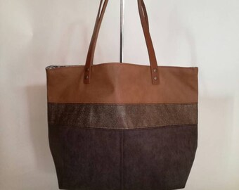 Faux leather camel and brown suede handbag