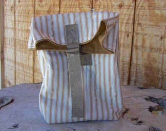 Canvas Lunch Bag, Tan & Ticking Stripe, Washable Lunch Bag