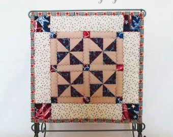 AMERICANA, MINI QUILT,  Art Quilt,  Home Decor, Country Decor, Holiday Décor,  Hostess Gift,  Patriotic,  July 4th,  Party, Celebration