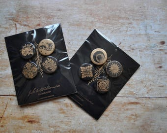 Handmade Lino Printed Black and Gold Pin Badge Sets