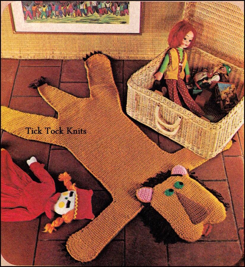 No.391 Wild Animal Rugs Crochet Pattern PDF Vintage Lion