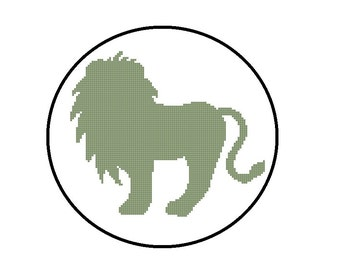 Counted Cross Stitch Pattern PDF - Lion Silhouette - CrossStitch Pattern, Instant Download