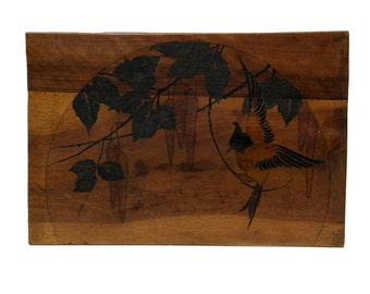 French Antique Art Deco Wood Pyrography Bird Wall Hanging. Bird Painting on Wooden Panel. Bird Lover Gift.